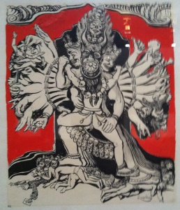 """""""DIEUX HINDOUS : il y en a autant que d'éléments dans la nature. Les dieux hindous sont les ancêtres de tous les dieux connus. Que de chose à faire Yamantaka, protecteur du Tibet, depuis que les missionnaires et les anglais y font fortune !"""" FK"""